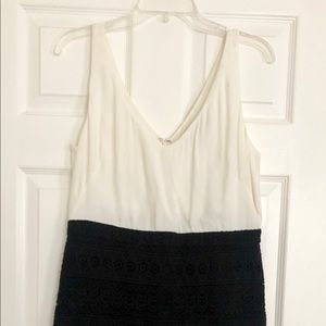 NWT LOFT white black lace sheath dress 8